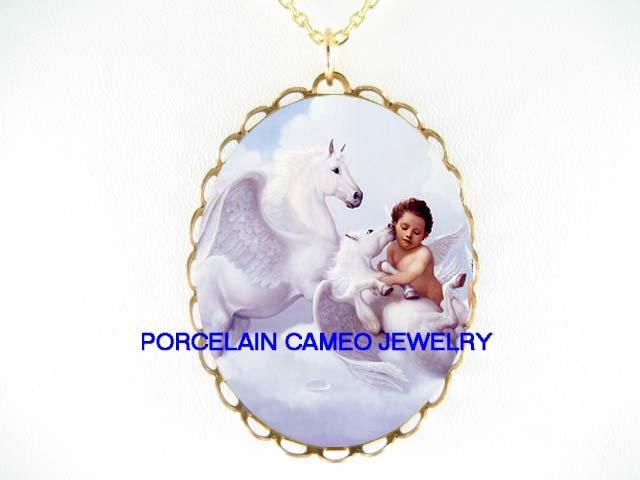 2 PEGASUS HORSE KISSING ANGEL CHERUB CAMEO PORCELAIN NECKLACE