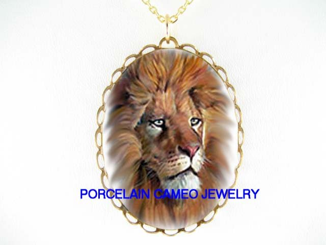 HANDCRAFTED* LION PROFILE* CAMEO PORCELAIN NECKLACE