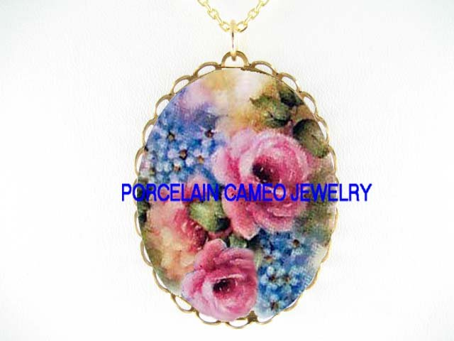 PINK ROSE WITH FORGET ME NOT* CAMEO PORCELAIN NECKLACE