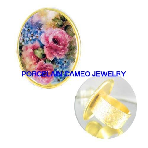 ROSE WITH FORGET ME NOT PORCELAIN CAMEO RING ADJ 5-9