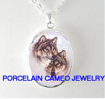 2 GREY WOLF WOLVES PORCELAIN CAMEO LOCKET NECKLACE