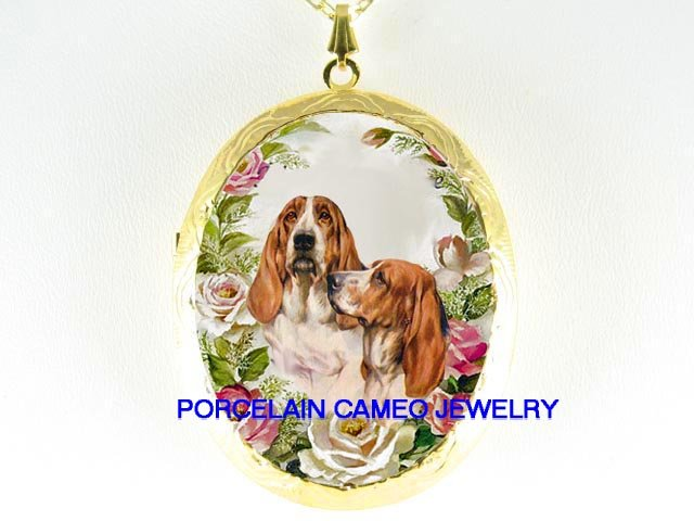 2 BASSET HOUND DOG ROSE CAMEO PORCELAIN LOCKET NECKLACE