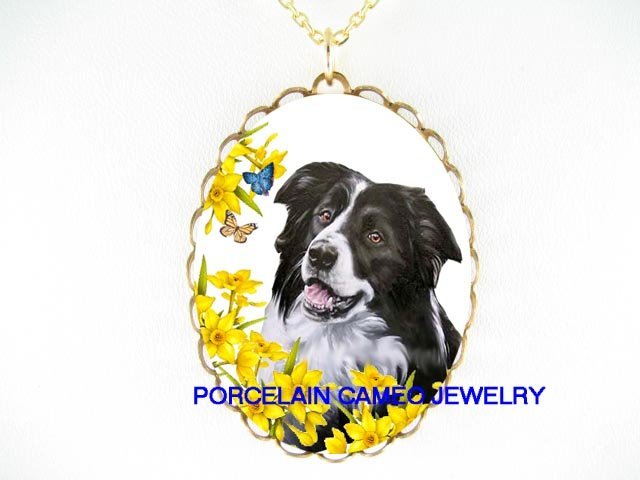 SMILING BORDER COLLIER DOG DAFFODIL BUTTERFLY  * CAMEO PORCELAIN NECKLACE