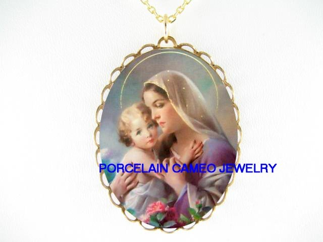 BLESSED VIRGIN MARY BABY CHILD PORCELAIN CAMEO NECKLACE