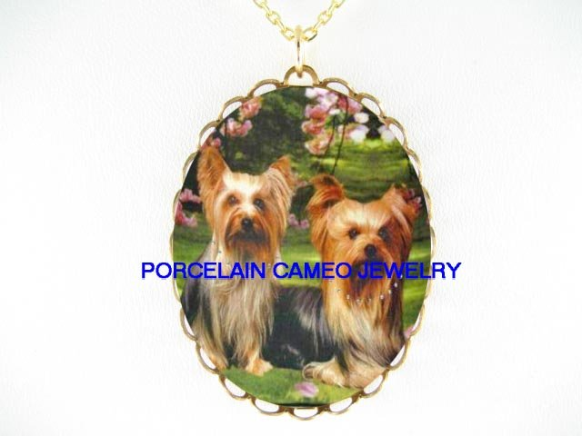 2 YORKSHIRE YORKIE DOG WITH CHERRY BLOSSOMS   * CAMEO PORCELAIN NECKLACE
