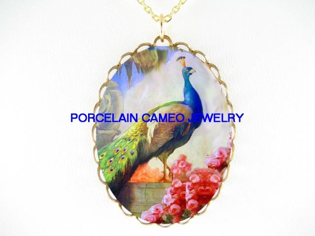 PEACOCK BIRD WITH ROSE  * CAMEO PORCELAIN NECKLACE