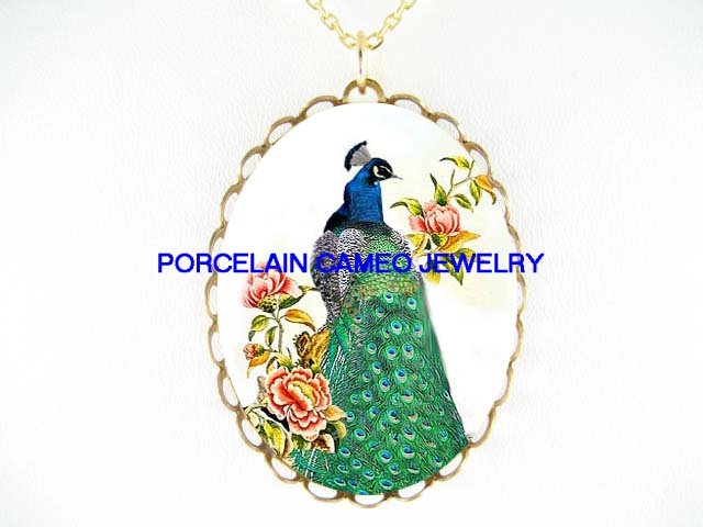 PEACOCK BIRD CHINESE PEONY * CAMEO PORCELAIN NECKLACE