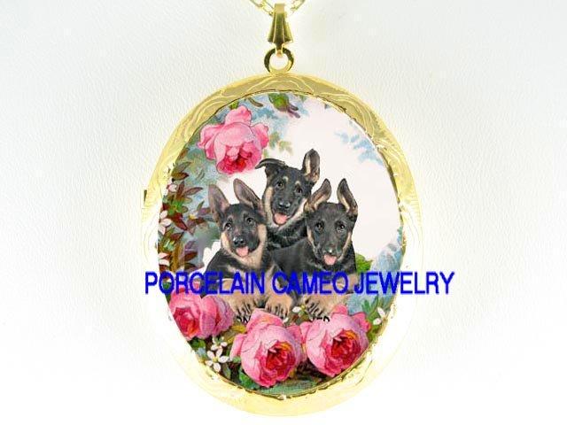 3 GERMAN SHEPHERD PUPPY DOG COLLAGE ROSE PORCELAIN LOCKET NECKLACE