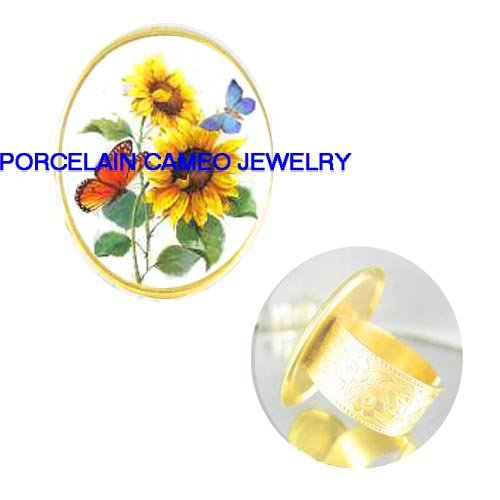 2 BUTTERFLY WITH SUNFLOWER PORCELAIN CAMEO ADJ RING 5-9
