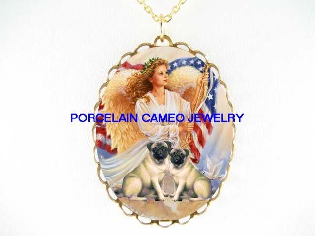 ANGEL 2 PUG DOG AMERICAN PROUD FLAG PORCELAIN NECKLACE