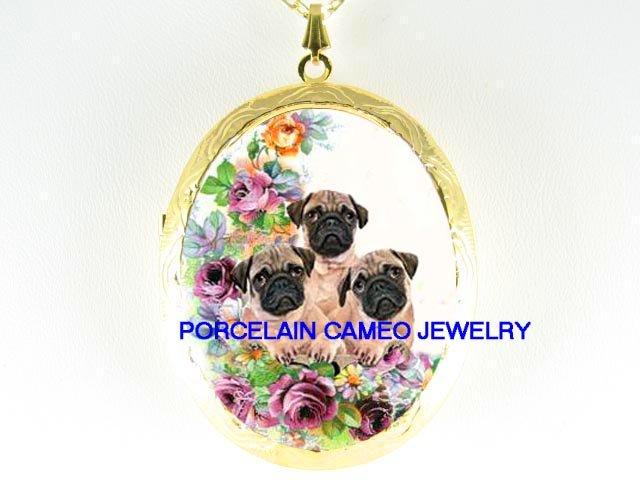 3 PUG DOG PUPPY DOG COLLAGE PURPLE ROSE*  CAMEO PORCELAIN LOCKET