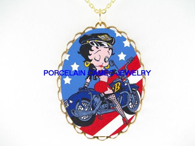 BETTY BOOP MOTORCYCLE BIKE FLAG PORCELAIN CAMEO NECKLAC