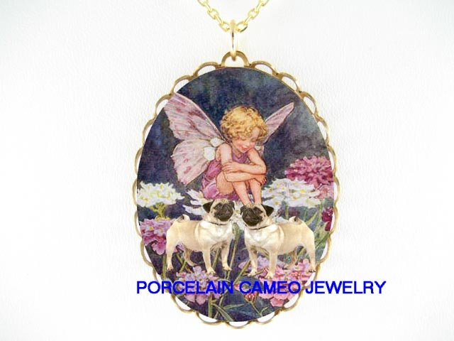 2 PUG DOG W/ BUTTERFLY FLOWER FAIRY PORCELAIN NECKLACE
