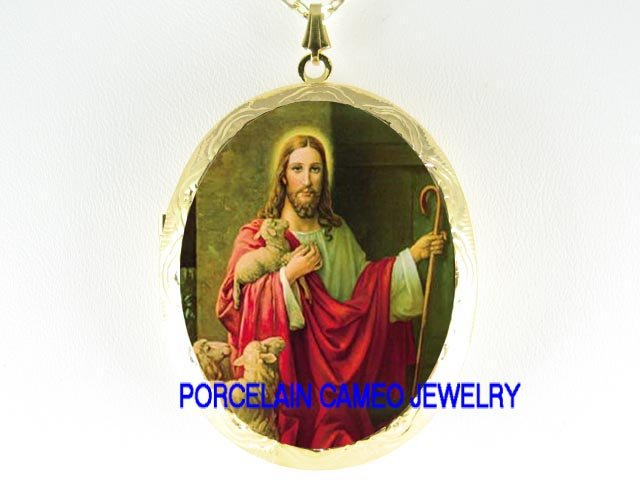 JESUS HOLD LAMB KNOCK THE DOOR PORCELAIN CAMEO NECKLACE