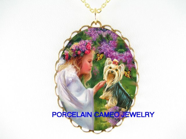 YORKSHIRE TERRIER DOG CHASING BUTTERFLY WITH ROSE ANGEL   * CAMEO PORCELAIN NECKLACE