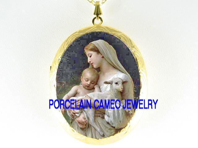 BLESSED VIRGIN MARY BABY JESUS LAMB PORCELAIN CAMEO LOCKET NK