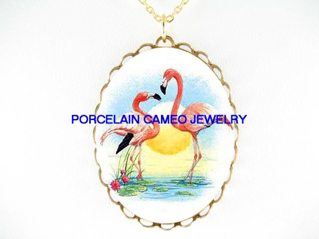 2 KISSING FLAMINGO LOVE HEART WATER LILY CAMEO NECKLACE