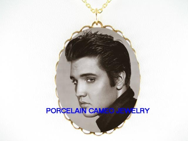 BLACK AND WHITE ELVIS PRESLEY * CAMEO PORCELAIN NECKLACE