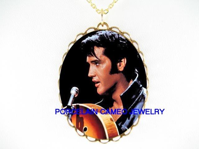 ELVIS PRESLEY SINGING LOVE SONG* CAMEO PORCELAIN NECKLACE