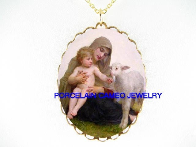 BLESSED VIRGIN MARY BABY CHILD LAMB PORCELAIN NECKLACE