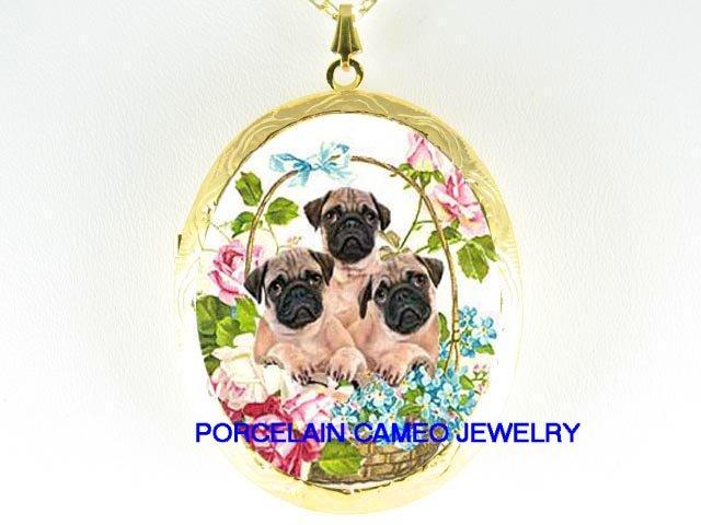 3 PUG DOG PUPPY DOG COLLAGE  ROSE FORGET ME NOT*  CAMEO PORCELAIN LOCKET NECKLACE