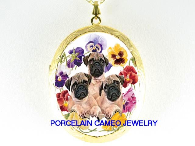 3 PUG DOG PUPPY DOG COLORFUL PANSY*  CAMEO PORCELAIN LOCKET NECKLACE