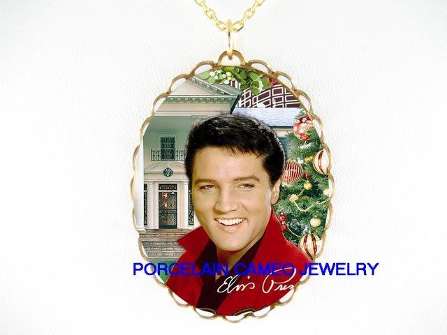 ELVIS PRESLEY MERRY CHRISTMAS* CAMEO PORCELAIN NECKLACE