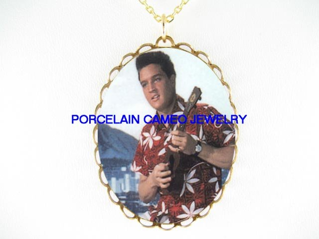 ELVIS PRESLEY BLUE HAWAII* CAMEO PORCELAIN NECKLACE