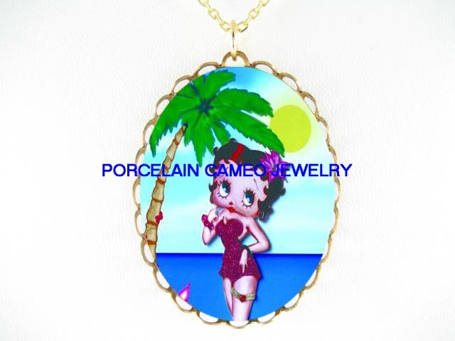 HAWAII BETTY BOOP PALM TREE * CAMEO PORCELAIN NECKLAC
