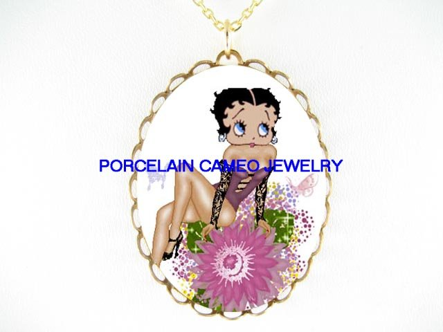 BETTY BOOP BUTTERFLY FAIRY SUNFLOWER  * CAMEO PORCELAIN NECKLACE