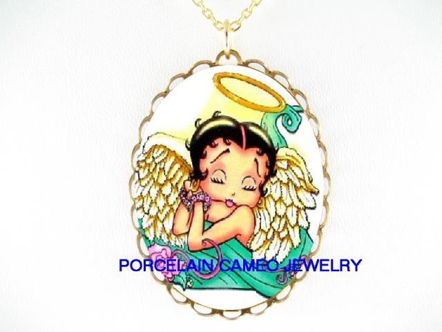 BETTY BOOP ANGEL WITH HALE * CAMEO PORCELAIN NECKLACE