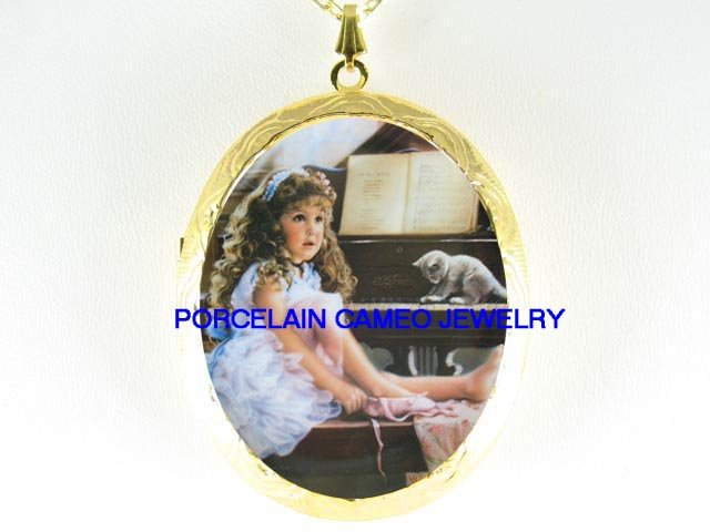 CHILD KID BALLERINA KITTY CAT PIANO *  CAMEO PORCELAIN LOCKET NECKLACE