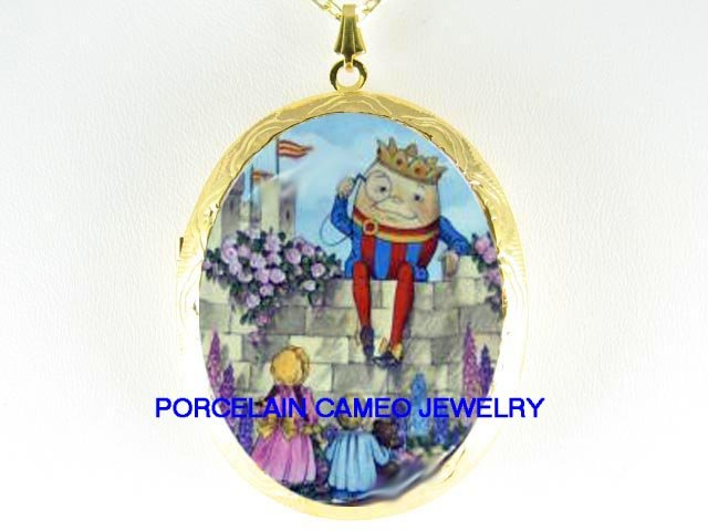 HUMPTY DUMPTY WITH CHILD CHILDREN  *  CAMEO PORCELAIN LOCKET NECKLACE
