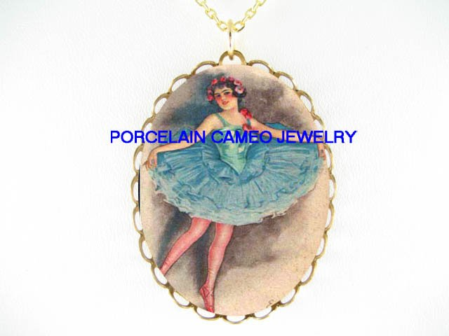 ART DECO LADY ROSE BALLERINA * CAMEO PORCELAIN NECKLACE