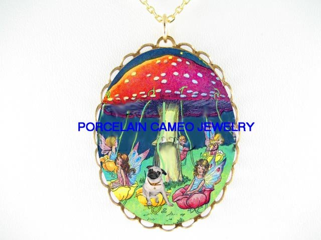 PUG DOG WITH FAIRY ON MUSHROOM SWING  * CAMEO PORCELAIN NECKLACE