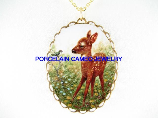 DEER FAWN WITH BABY BIRD * CAMEO PORCELAIN NECKLACE