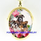 3 BOXER PUPPY DOG COLLAGE ROSE CAMEO PORCELAIN LOCKET