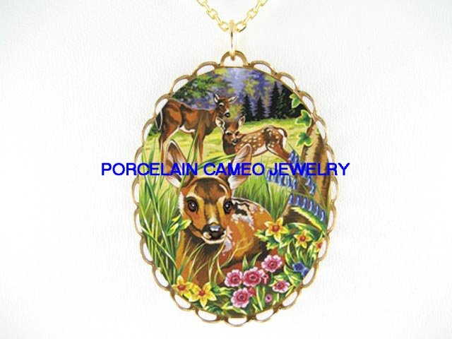 3 DEER BABY FAWN FAMILY FLOWER* CAMEO PORCELAIN NECKLACE