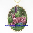 3 DEER BABY FAWN FAMILY CUDDLING CAMEO PORCELAIN NECKLACE