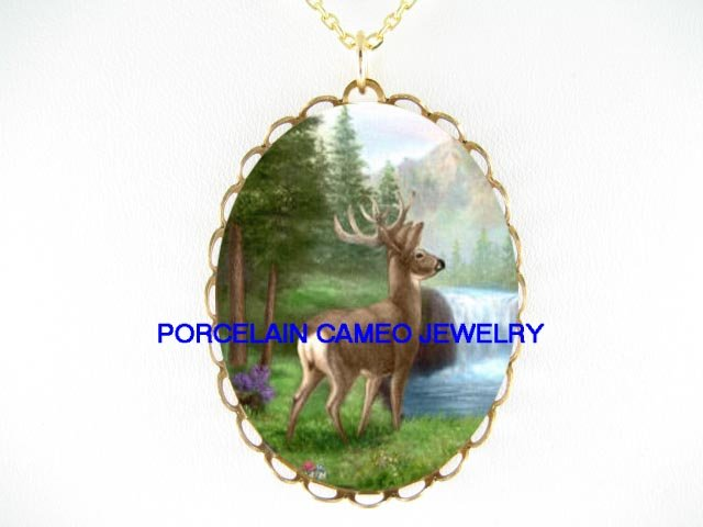 DEER WATERFALL MOUNTAIN* CAMEO PORCELAIN NECKLACE