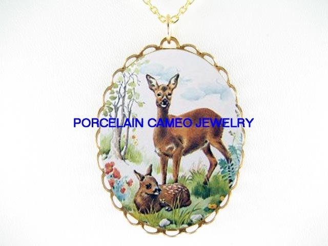 2 DEER FAWN WILD FLOWER* CAMEO PORCELAIN NECKLACE