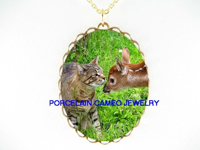 GREY TABBY CAT KISSING DEER FAWN* CAMEO PORCELAIN NECKLACE