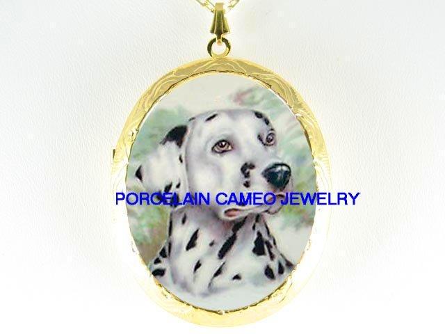 SWEET DALMATIAN DOG *  CAMEO PORCELAIN LOCKET NECKLACE