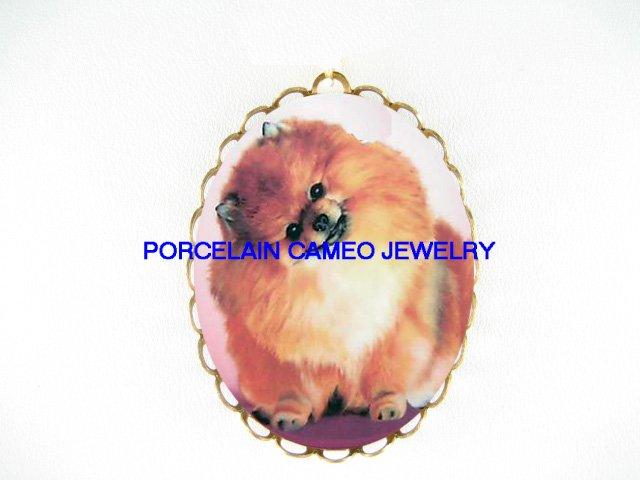 SWEET SMILING POMERANIAN DOG CAMEO PORCELAIN PENDANT PIN BROOCH