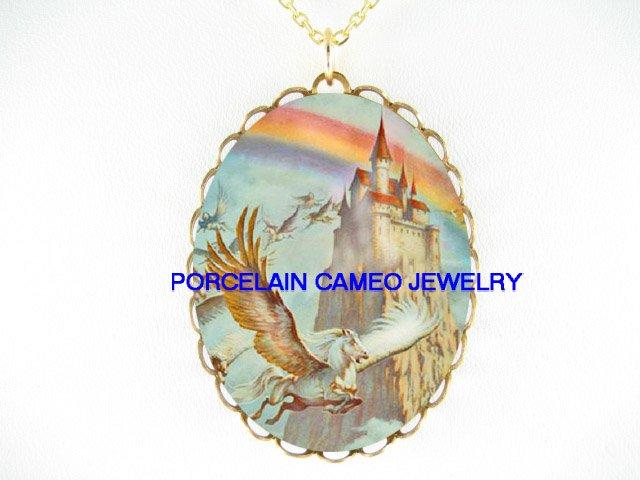PEGASUS HORSE CASTLE RAINBOW * CAMEO PORCELAIN NECKLACE