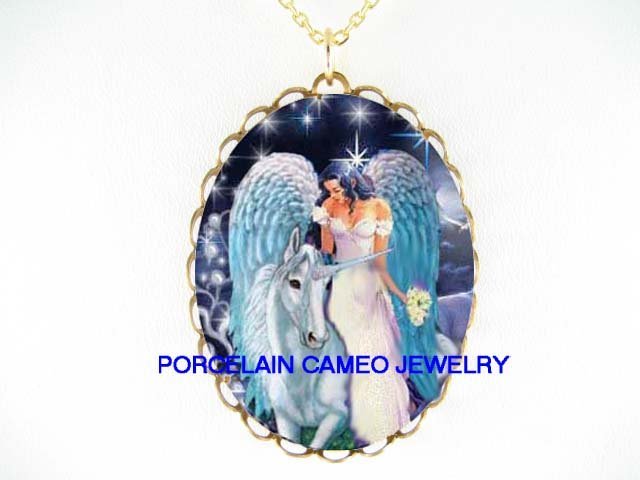 WHITE UNICORN HORSE WITH ANGEL * CAMEO PORCELAIN NECKLACE