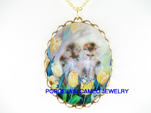 2 KITTY CAT BUTTERFLY TULIPS CAMEO PORCELAIN NECKLACE