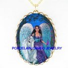 UNICORN HORSE WITH ANGEL* CAMEO PORCELAIN NECKLACE