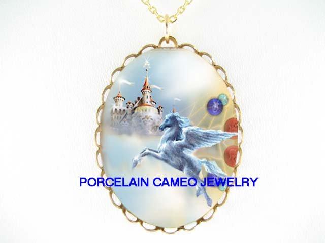 PEGASUS HORSE CASTLE * CAMEO PORCELAIN NECKLACE