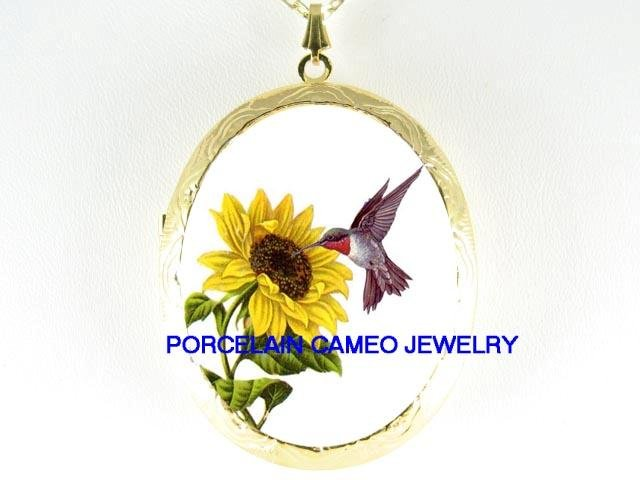 HUMMINGBIRD WITH SUNFLOWER* CAMEO PORCELAIN LOCKET NECKLACE